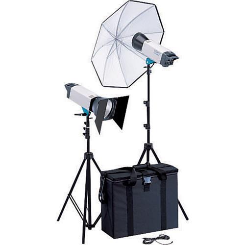 סט 2פלשים כולל חצובות, מטריות/סופט בוקס Visatec Solo 1600B